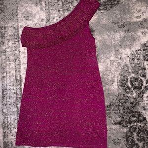Trina Turk Fuchsia pink wool one shoulder  dress L